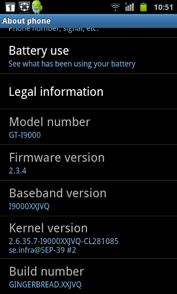 Galaxy S - Android 2.3.4