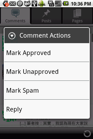 Wordpress for Android - Comments Action Menu