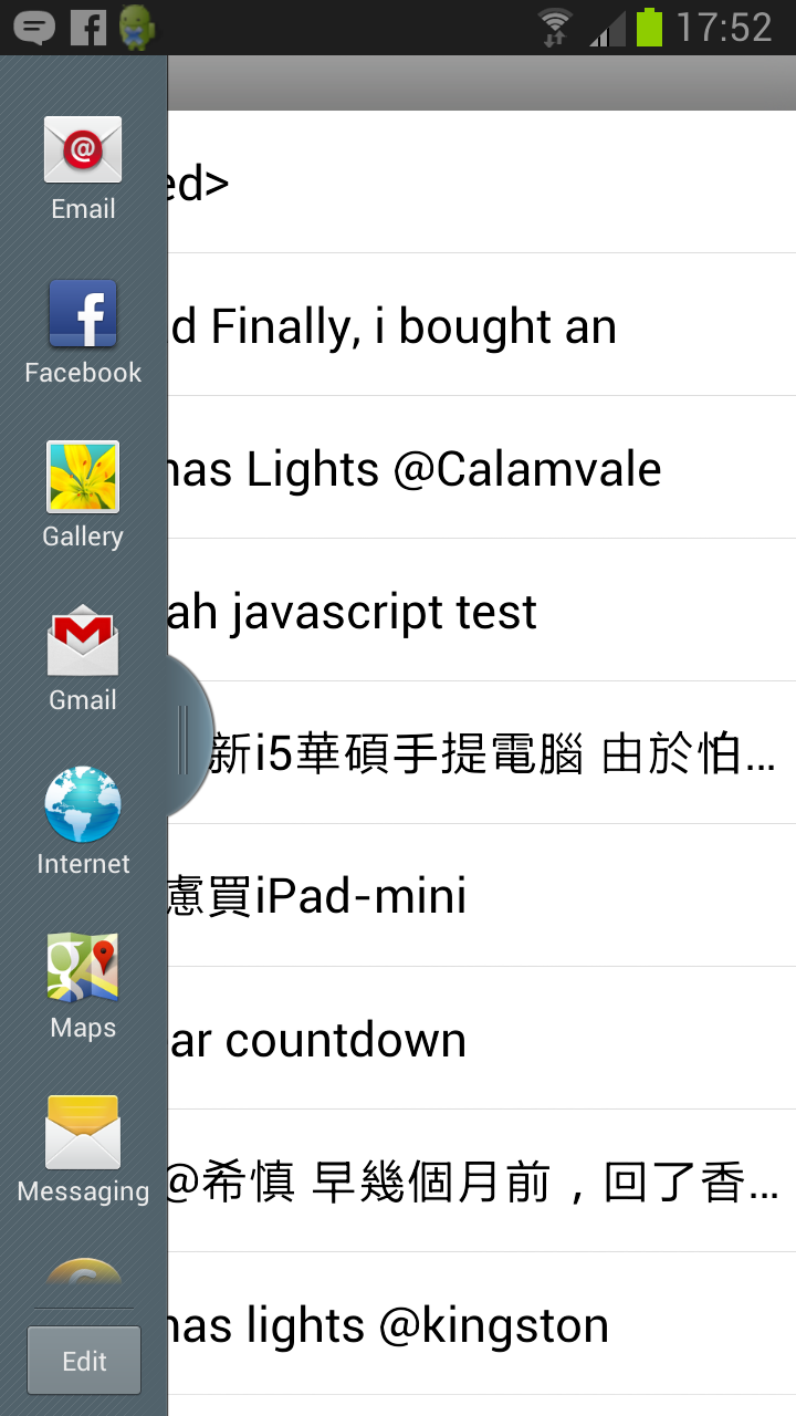 Side bar in Android