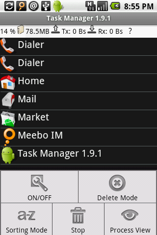 Android Process Manager - Menu